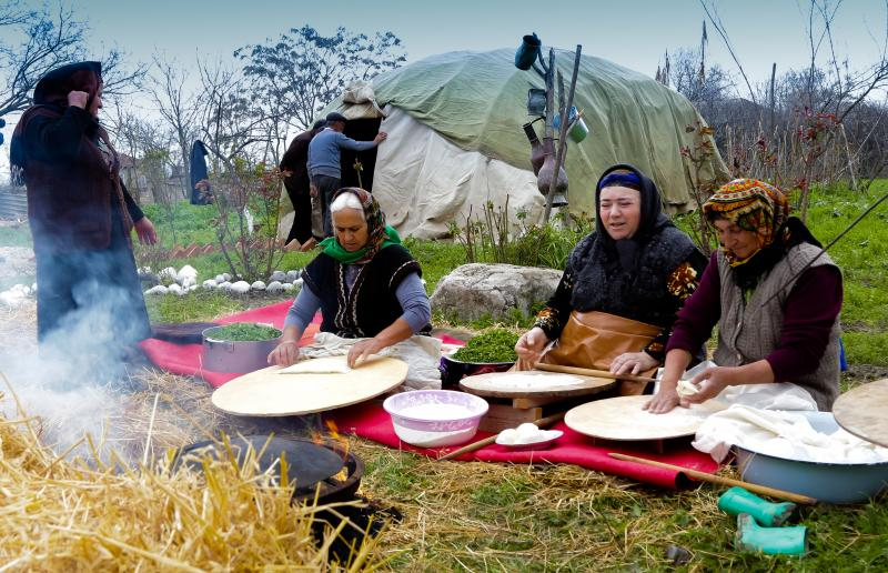 Women cook traditional food